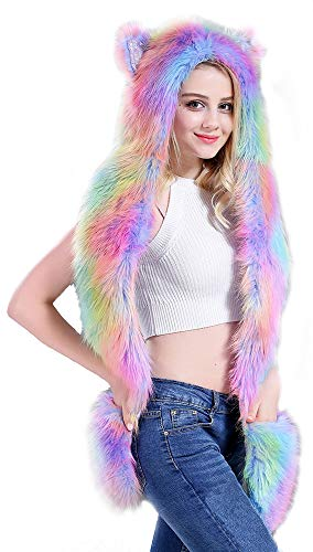 Ababalaya Womens Cute Rainbow Unicorn Fur Hood Hat Scarf Cosplay for Christmas Halloween,Rainbow01