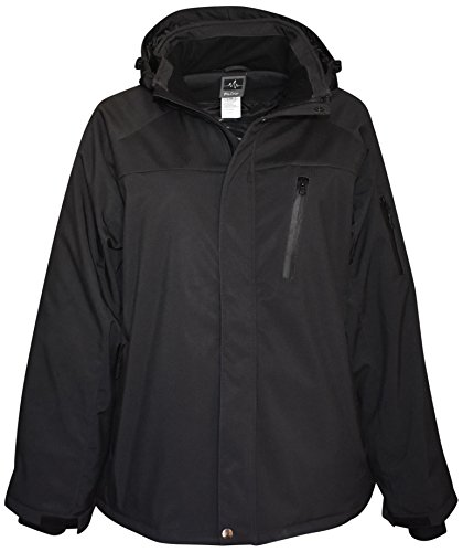 Pulse Mens Big Sizes Insulated Soft Shell Jacket (6XL, Onyx Black)
