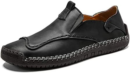 You Are Fashion メンズペニーローファードライビングシューズファッションハンドステッチ本物の夏の靴ソフトファッションウォーキングレザーカジュアル快適な男性モカシンシューズ (Color : ブラック, サイズ : 26.5 CM)