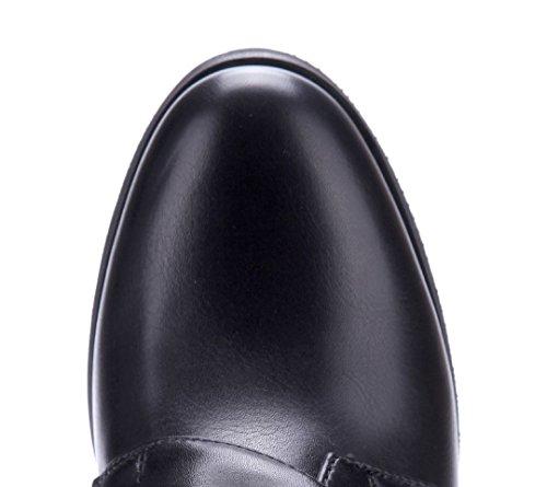 cm Blockabsatz Damen Schwarz Klassische Schuhe 5 Schnalle Stiefel Boots Stiefeletten Schuhtempel24 RzYpwSY