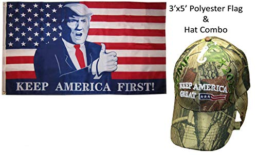 (Wholesale Flag Hat Set 3x5 USA Trump Thumbs Up Keep America First! 3'x5' Polyester Flag & Trump 2020 Keep America Great 3 Star USA Flag Camo Embroidered Cap Hat)