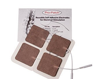10 Resealable Pack of 4 Electrodes Each Total 40 Electrodes - ESA Medical Premium 40 Electrodes 2.0'' x 2.0'' Sqaure Tan Cloth Electrode Pads with US Made Gel Adhesive by Pro-Patch® by Pro-Patch (Image #2)