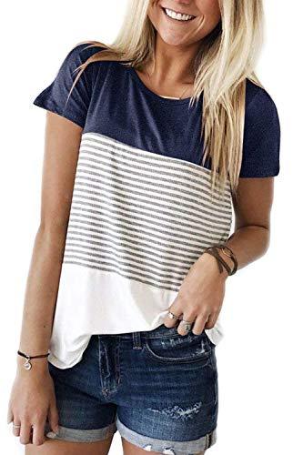 ALIBIZIA Women's Triple Color Block Stripe T-Shirt Casusal Blouse XL Navy Blue ()