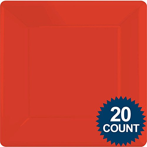 Red Party Supplies Square Dinner Paper Plates 20 ct