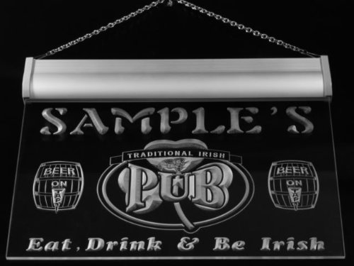 pa1107-b Woods Irish Shamrock Home Pub Bar Beer Neon Light Sign by AdvPro Name (Image #2)
