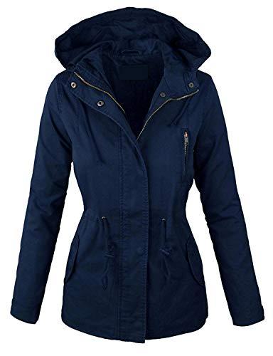 - Lock and Love LL Women Military Anorak Safari Hoodie Jacket S Navy