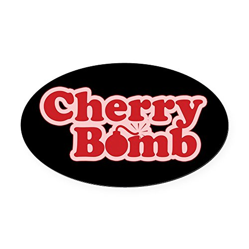 CafePress - Cherry Bomb Oval Car Magnet - Oval Car Magnet, Euro Oval Magnetic Bumper Sticker