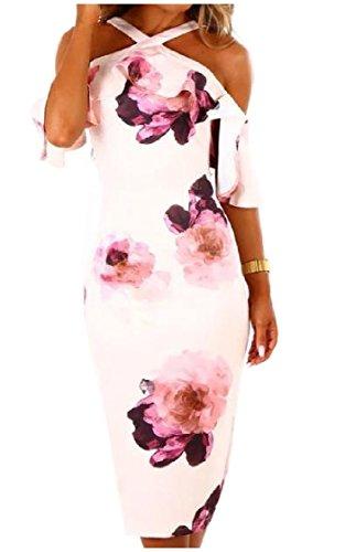 Coolred-femmes Impression Florale Moulantes Épaule Froid Bureau Sexy Une Robes Étape Blanc