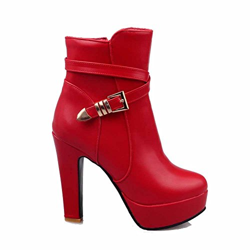 AgooLar Women's Round Closed Toe High Heels Low Top Solid Boots with Metal Red Z4cRC7c