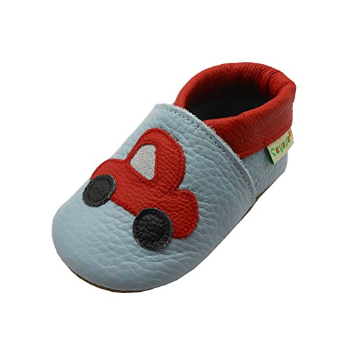 Sayoyo Baby Red Car Soft Sole Leather Infant Toddler Prewalker Shoes (12-18 months, Light Blue)