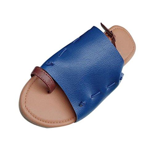 femmes plat boucle Peep HLHN romain Lady Vintage cheville gladiateur poisson Summer tongs sandales chaussures talon bouche Casual sangle Toe Blue fq01g
