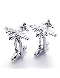TEMEGO Jewelry Mens 2pcs Rhodium Plated Polished Airplane Wedding Cufflinks Shirt Cufflinks, Silver