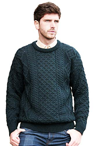 Mens Crewneck Sweater New - Aran Crafts Double Extra Large (XXL) Crew Neck Sweater Irish Blackwatch Traditional Aran Crew Neck Sweater (100% Pure New Wool) (C1347-BW-XXL)