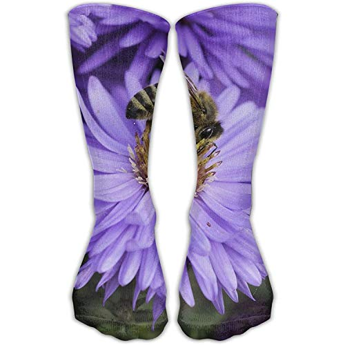 Comfortable Personalized Knee Socks Honeybee Purple Flower Unisex Perfect Gifts Outdoor Breathable Long High Stockings Stocking