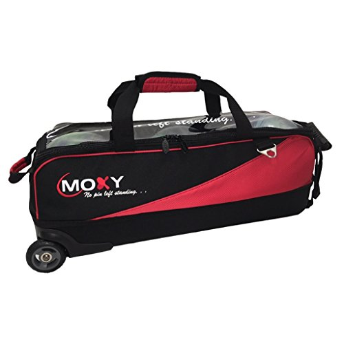 Moxy Bowling Products Slim Triple Roller Bowling Bag- Red/Black