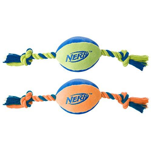 Tuff Tug - Nerf Dog (2-Pack) UltraPlush Trackshot Tuff Tug Dog Toy, Orange/Blue & Blue/Green, Medium