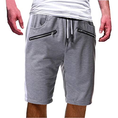 LUCAMORE Men's Shorts Casual Drawstring Elastic Waist Gym Shorts with Zip Pockets Gray