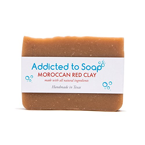 Addicted to Soap – Old Fashioned Natural Shampoo Bar 5 Ounces Eco-Friendly Solid Bar Shampoo for Men & Women Organic Coconut Oil Sulfate Free Leaves Hair Shiney Soft (Moroccan Red Clay Shampoo Bar)