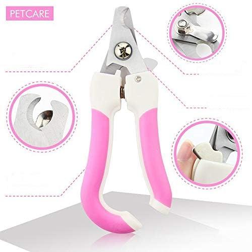 Límite-MX Pet Grooming Scissors,Cortaúñas y reCortador de uñas para mascotas, Tijeras de uñas para mascotas Paw acicalado podadoras con protector de seguridad para evitar el exceso de corte para cachorro perrito gatito (Rosa) 3