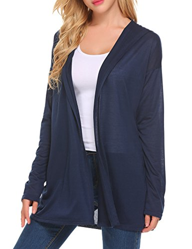 Sweater Hooded Blue (Unibelle Womens Long Sleeves Knit Cardigan Open Drape Hoodie Cardigan Sweater,Navy Blue,X-Large)