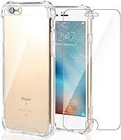 Funda iPhone 6S/iPhone 6 + Cristal Protector de pantalla ,ivencase Transparente TPU Silicona [Funda + Vidrio Templado] Ultra Fino Protector de Pantalla 9H Dureza HD y Flexible Back Case Cover para iPhone 6/6S