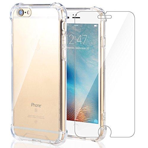 Funda iPhone 6S/iPhone 6 + Cristal Protector de pantalla ,ivencase Transparente TPU Silicona [Funda + Vidrio Templado] Ultra...