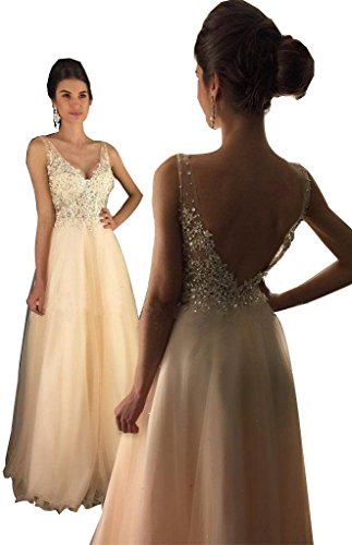 YuNuo 2018 Tulle Prom Dresses V Neck Open Back With Ruffles A Line Sweep Train S3Champagne-US2 (Train Sweep Design)