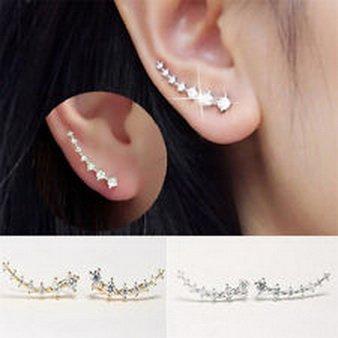 Pixel Jewelry 1985 - Fashion Womens Gold Silver Crystal Rhinestone Stud Earrings Ear Hook Jewelry L7