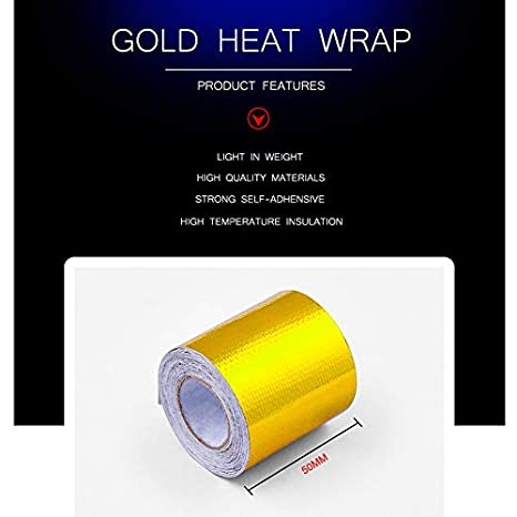 TOOGOO Reflektieren eine Gold-Thermo-Tape Lufteinlass Waermedaemmung Schild Wickeln Reflektierende Hitzebarriere Selbstklebender Motor
