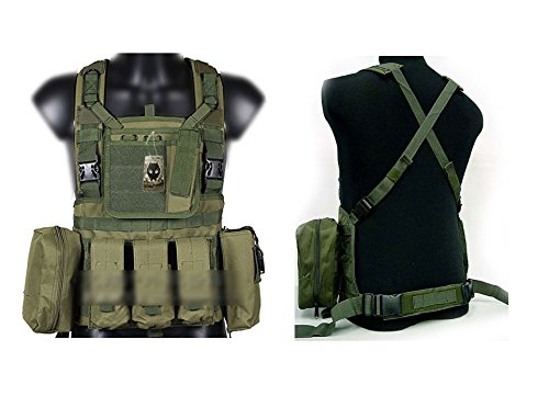 ATAIRSOFT Tactical Airsoft Paintball MOLLE RRV VEST with magazine pouches OD Green by ATAIRSOFT
