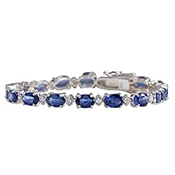 W/Gold Natural Blue Sapphire and Diamond Tennis Bracelet