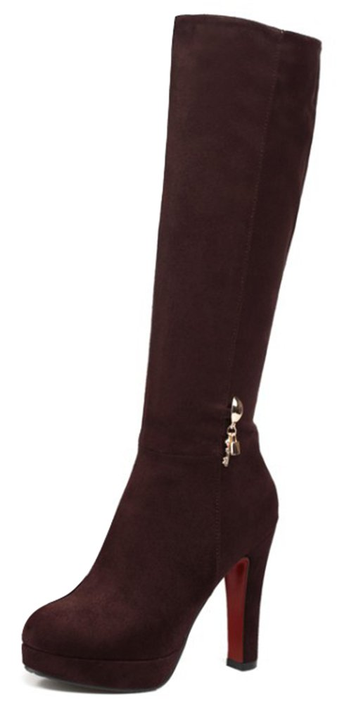 Summerwhisper Women's Sexy Faux Suede Almond Toe Chunky High Heel Side Zipper Platform Under the Knee High Boots Shoes Brown 6 B(M) US