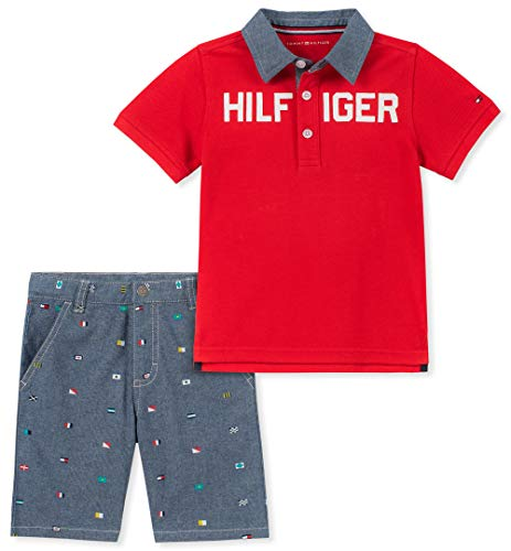 Tommy Hilfiger Baby Boys 2 Pieces Polo Shorts Set, red/Print, 18M