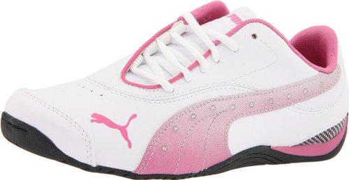 PUMA Drift Cat III L Diamond Fade Jr Fashion Sneaker (Little Kid/Big Kid),White/Shocking Pink/Black,6 M US Big Kid ()