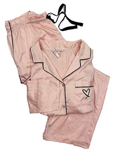- Victoria's Secret Women's 2 Piece Satin Afterhours PJ Pajama Pants Set Sheer Pink Heart Large