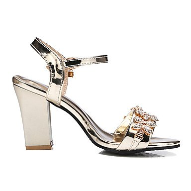 LvYuan Mujer Sandalias Zapatos formales Semicuero Primavera/Otoño Verano Fiesta Cumpleaños Diario Zapatos formales Pedrería Tacón RobustoDorado Gold