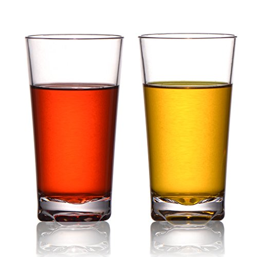 MICHLEY Classic Unbreakable Water Tumblers, Restaurant-quality Plastic Highball Glasses For Drinking 12 oz, Set of 2 by michley tivax