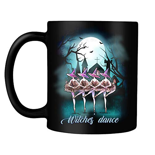 (Witches Dance Ballet In The Halloween Night Funny Ballerina Witches Swan 11 Oz Black Ceramic Halloween Coffee Tea Mug Gift)