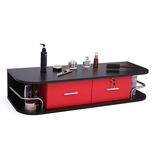 Sandinrayli Salon Classic Wall Mount Styling Station Beauty Salon Spa Locking Cabinet, Black and Red