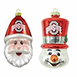 NCAA Ohio State Buckeyes Santa Cap and Top Hat Snowman Ornaments