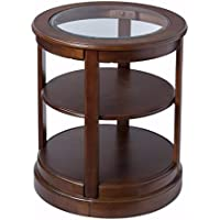 Round Wood Side Accent Table With Glass Top And Shelf, Brown Finish, Includes Custom Mouse Pad