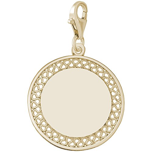 Gold Plated Filigree Disc Charm With Lobster Claw Clasp, Charms for Bracelets and Necklaces (Charm Disc Filigree)