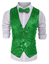 Men's Shining Sequins Waistcoat with Bow Tie