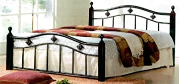 Hodedah Import 802 QUEEN Metal Bed with Wood Posts - Queen