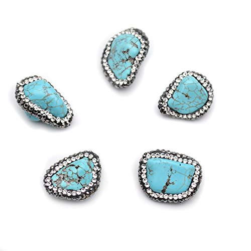 Buty-Bzi 5pc Blue Howlite Freeform Stone Nugget Spacer Loose Beads (Freeform Turquoise Bead Pendant)