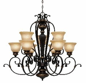 Golden Lighting 6029-9 EB Jefferson Two Tier Chandelier, Etruscan Bronze Finish (Jefferson 9 Light Chandelier)