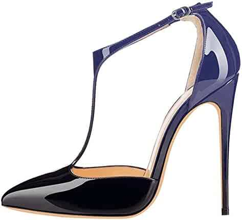 a3fa4397546 Chris-T Women s T-Strap Pointed Toe Strappy Buckle High Heels 12cm Stiletto  Heel