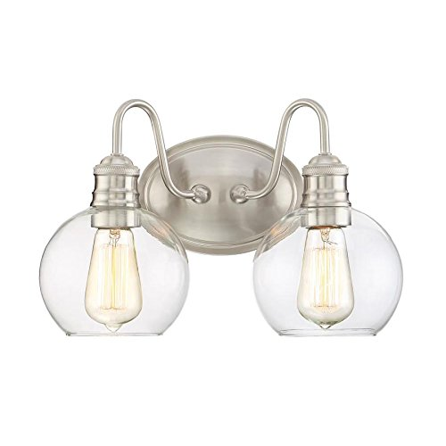 Quoizel Soho 2-Light 9.5-in Brushed nickel Globe Vanity Light - Soho Bathroom Vanity Light