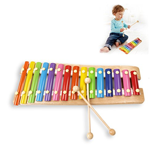 JouerNow Wooden 15 Key Notes Xylophone Toys Hand Knock Piano Music Instrument for 1 2 3 Years Old Kids and Up, with Child-Safe Wooden Mallets