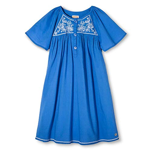 Pink Chicken Happy Embress Blue Embroidered Dress (4Y)